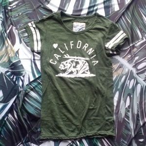 Tops - California Army Green Retro Style T Small